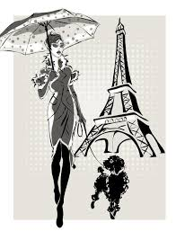 Free Eps File Fashion Girl And Eiffel Tower Hand Drawing Vector 01