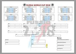 World Cup Russia Wall Chart Football World Cup Russia Predictor Wall Chart Sweepstake