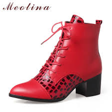 <b>Meotina</b> 2018 <b>Winter Ankle Boots</b> Woman Lace Up Short Boots ...