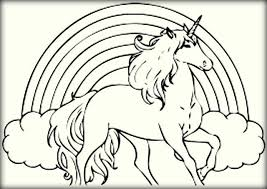 Small Picture Unicorn With Rainbow Coloring Page Coloring Coloring Pages