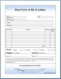 Short Form Bill Of Lading Template How To Use A Bill Of Lading Template 251