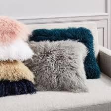 Mongolian fur pillows Oversized West Elm Mongolian Lamb Pillow Covers Square West Elm