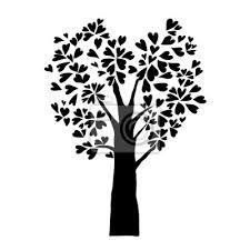 Fototapeta černé Srdce Opouští Strom Izolované Představivost Tetování Znamení
