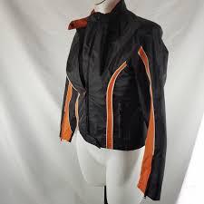 hot leathers m motorcycle jacket nylon racer racing orange black