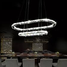 Exquisite Lighting LED Crystal Chandelier Fashion Modern Dining Room Pendant Lamp Exquisite Double Rings Living Contracted Oval Indoor Lighting O