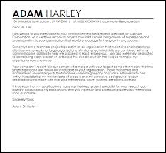 Communications Specialist Cover Letter Project Specialist Cover Letter Sample Cover Letter Templates
