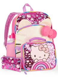 o kitty o kitty 5 piece backpack set with lunch bag walmart