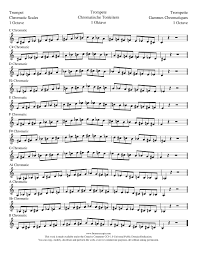 Trumpet Chromatic Scale Chart Chromatic Scales Trumpet Lexcerpts Sheet Music For Piano
