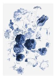 Kek Amsterdam Royal Blue Flowers I Behang Flinders Verzendt Gratis