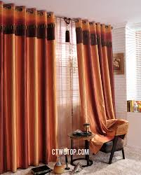 Striped Contemporary Window Chintz Burnt Orange Curtains Online