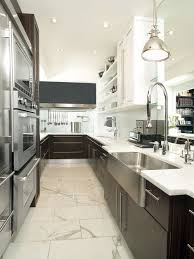 Galley Kitchen Lighting Contemporary Galley Kitchen Idea In Toronto With A Farmhouse Sink And Stainless Steel Appliances Lighting S