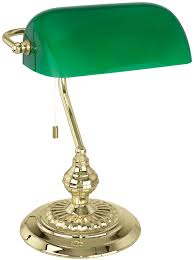 green shade desk lamp traditional polished brass banker with 90967 1