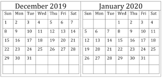 December January 2020 Calendar Excel Word Printable
