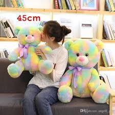 2019 2018 New 45cm Cute Rainbow Bear Plush Toy Stuffed Teddy Bear