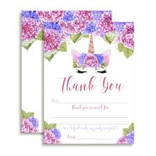 Blank Thank You Notes Unicorn Face Floral Thank You Notes Purple Blue