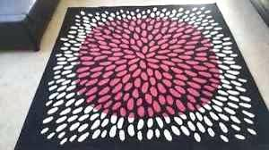 black and white ikea rug square area carpet pink spot