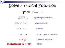 10 solve a radical equation
