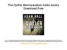The Quiller Memorandum Audio Books Download Free
