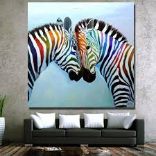 hot zebra painting on canvas home decor living room wall pictures hand made oil painting