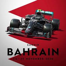 A high definition illustration of formula 1 driver george russel driving his mercedes racing car in 2020. Mercedes Poster For The Bahrain Grand Prix Formula1