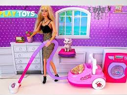 barbie doll house cleaning play toys