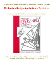 Mechanism Design Erdman Pdf Pdf Mechanism Design Analysis And Synthesis 1 Epub