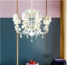 white modern fl chandelier lamp re light cream rose flower fixture 5