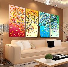 Small Picture GEVES Unframed 4 Pieces Colorful Seasons Tree of Life Giclee Print