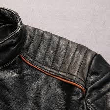 factory 2016 new men retro vintage leather biker jacket embroidery skull pattern black slim fit men