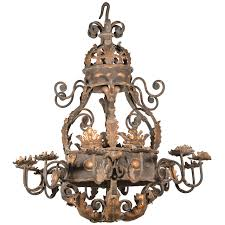 a large acanthus leaf iron chandelier from france