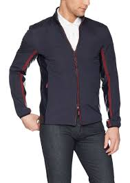a x armani exchange men s casual jacket with leather collar and red zipper l