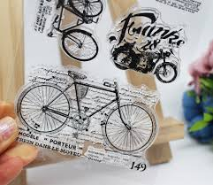 Dunlop Bike Light Us 2 68 10 Off Vintage Fish Bike Postal Rubber Silicone Clear Stamps For Tampons Seal Background Collage Stamp Holiday Card Card Making Diy In