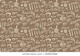 kitchen wallpaper texture. Vector Hand Drawn Seamless Background Kitchen Utensils And Crockery: Fork,  Knife, Spoon, Wallpaper Texture