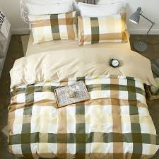pure era mixed color plaid yarn dyed soft cotton comfort bedding sets duvet cover with