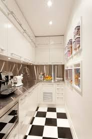 Small white kitchens with white appliances Shiny White Fabulous Tiny White Kitchen With Black And White Checkered Floor And Check Out The Built Decoist 50 Small Kitchen Ideas dont Overthink Compact Design