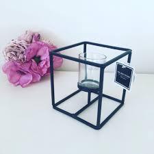 T Lights A Black Cube Geometric T Light Holder Candle Holder T