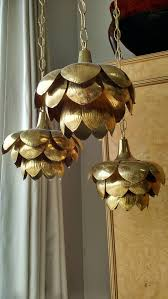 hollywood regency brass triple lotus pendant chandelier by feldman co in excellent condition for
