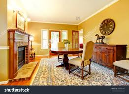 Mustard Living Room Living Room Fireplace Mustard Wall Color Stock Photo 154790744