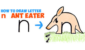 howtodraw ant eater from letter n