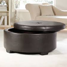 image of round leather ottoman coffee table storage