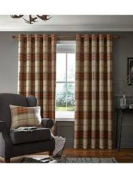 Catherine Lansfield Brushed Heritage Check Lined Eyelet Curtains