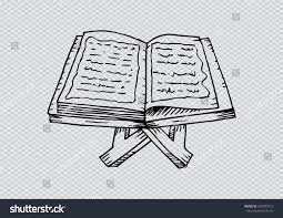 quran on a wooden book stand hand drawing ilration