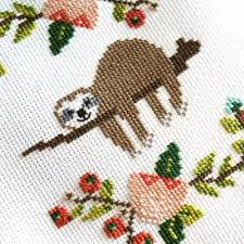 Cross Stitching Patterns Beauteous Lazy Day Sloth Cross Stitch Pattern Stitched Modern
