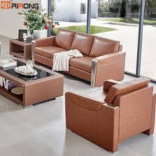 Brown Genuine Leather <b>Luxury Office</b> Living Room Sofa Set Coffee ...