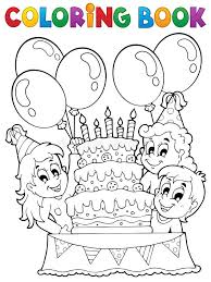 coloring book kids party theme 2 stock vector ilration of birthday cake