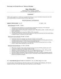 Resumes Resume For Restaurant Worker Description Hostess Manager