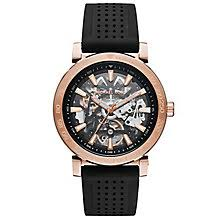 men s michael kors watches ernest jones michael kors men s rose gold tone bracelet skeleton watch product number 6171923