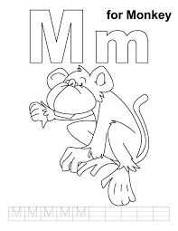 Small Picture M for monkey coloring page with handwriting practice Download