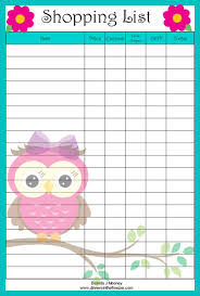 grocery list template printable adorable owl shopping list free printable grocery coupons wyd
