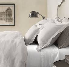 vintage washed belgian linen bedding collection restoration hardware